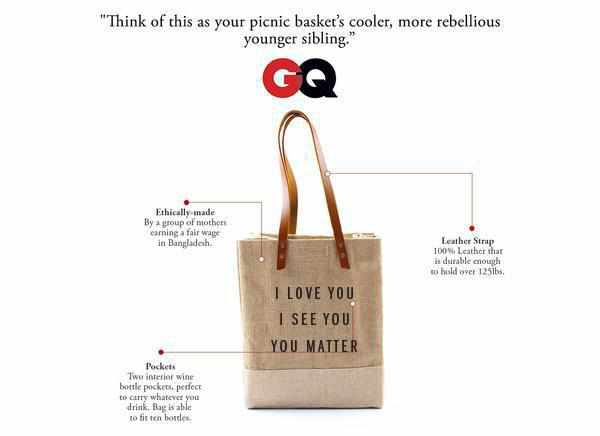 'I Love You I See You You Matter' Wine Tote, through May 31 Only