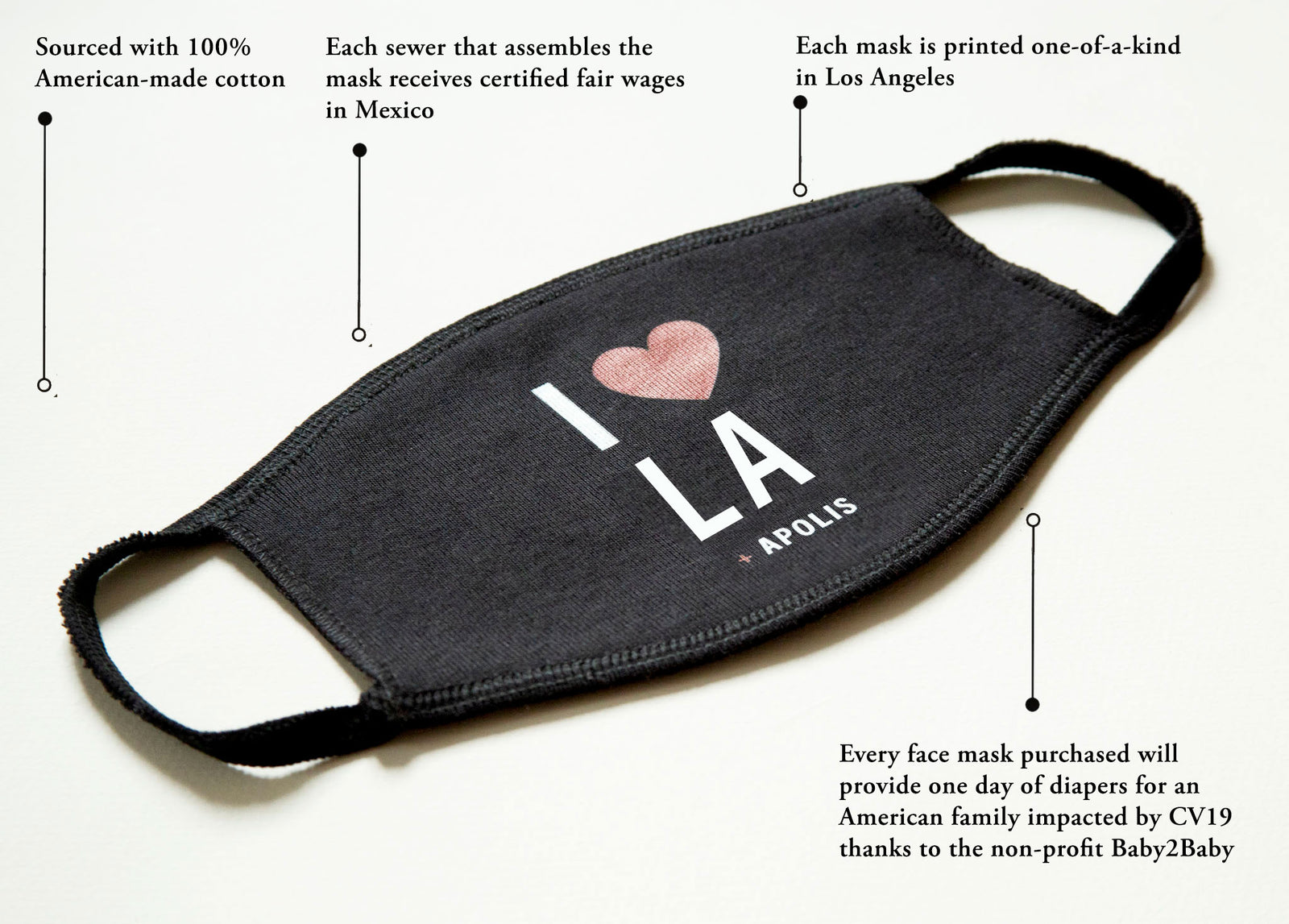 "Customize Your ""I Heart"" Non-Medical Adult Face Mask for Baby2Baby®"
