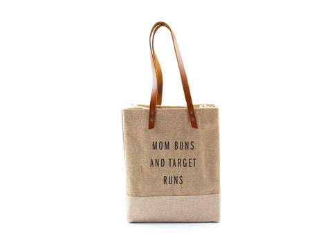 'Mom Buns And Target Runs' Wine Tote, August 4 Only, Natural