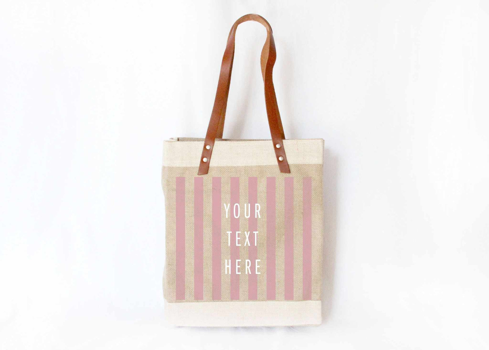 Customize Your Striped Long Handle Tote in Pink