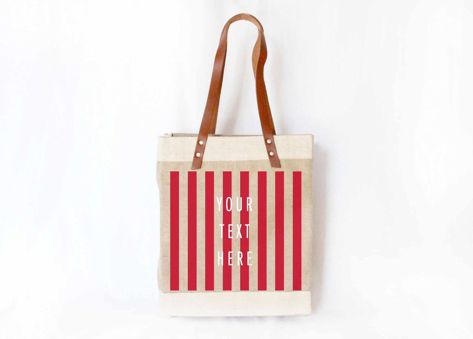 Customize Your Striped Long Handle Tote in Red