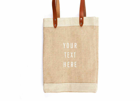 Customize Your Tote Market Bag, White Print