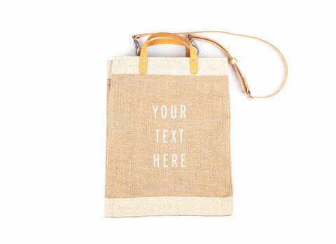 Copy of Customize Your Detachable Handle Market Bag, White Print