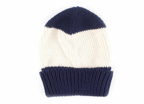Alpaca Striped Beanie, Navy