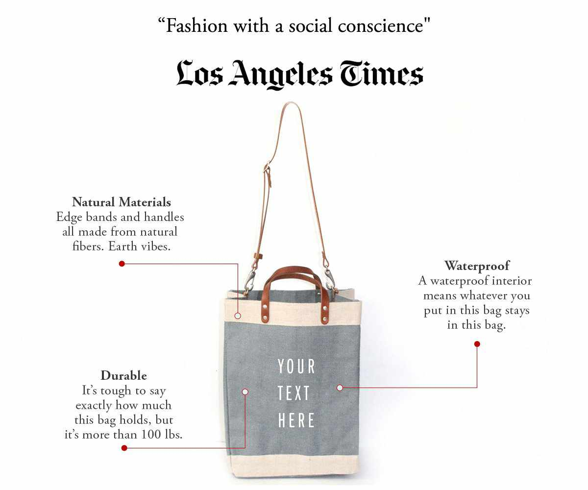 Customize Your Detachable Handle Market Bag in Light Blue