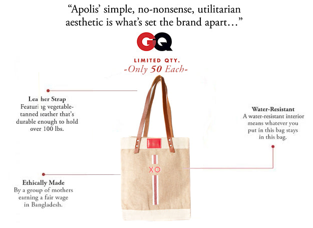 Stripe Monogram Standard Market Tote in Red | Print Shop Exclusive
