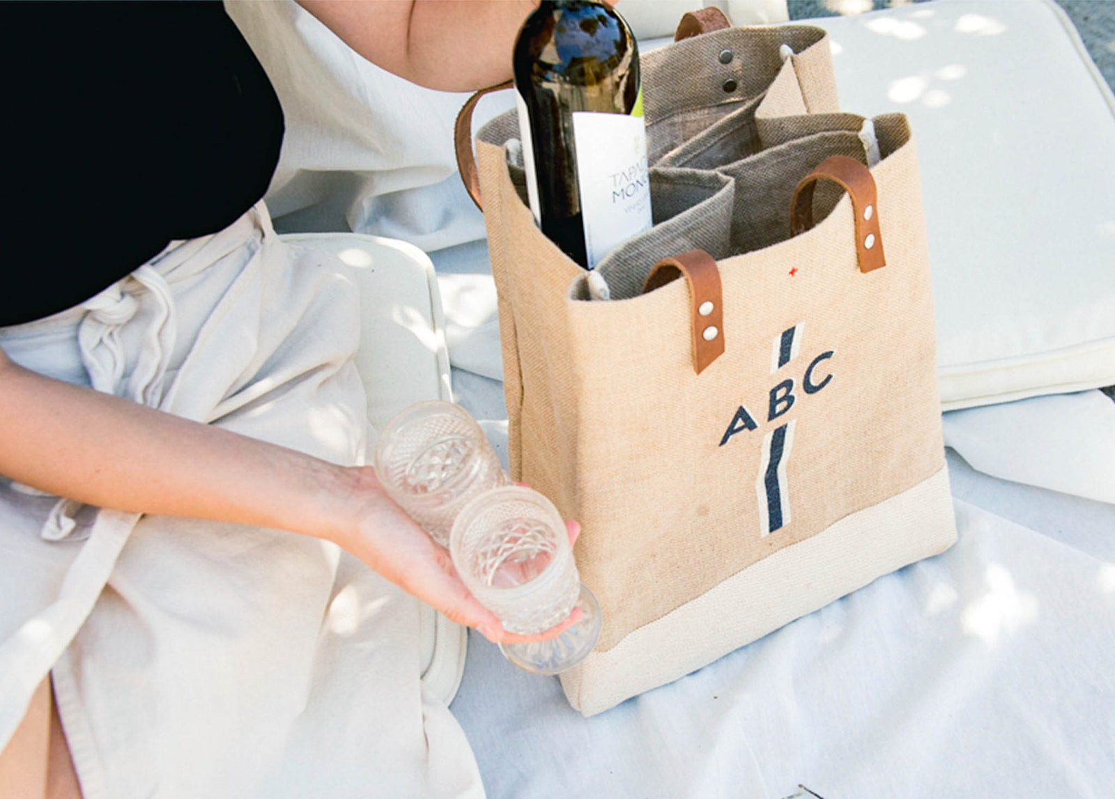 Customize Your Black Striped Monogram Wine Tote through May 31 Only