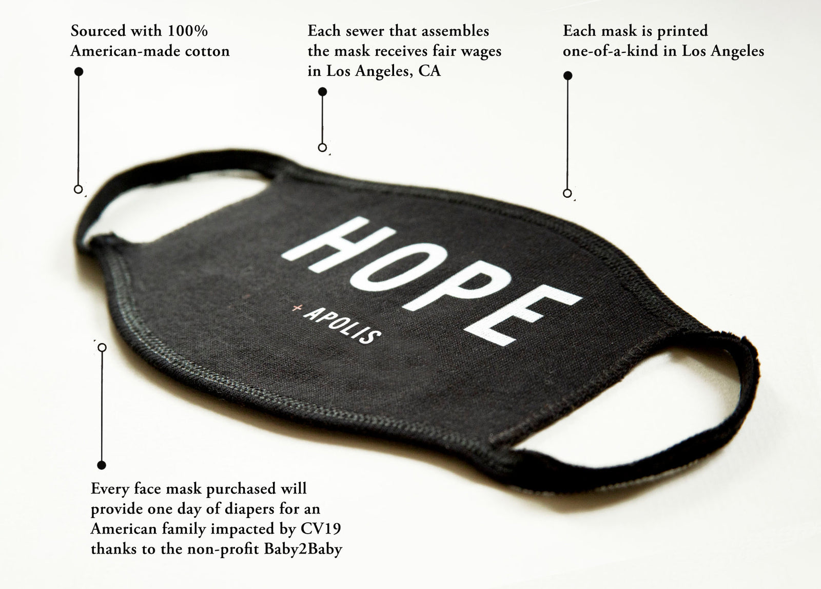 """Hope"" Monogram Non-Medical Adult Face Mask for Baby2Baby®"