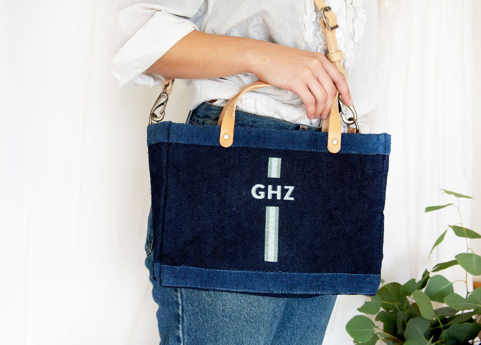Customize Your Striped Detachable Handle Monogram Bag in Indigo