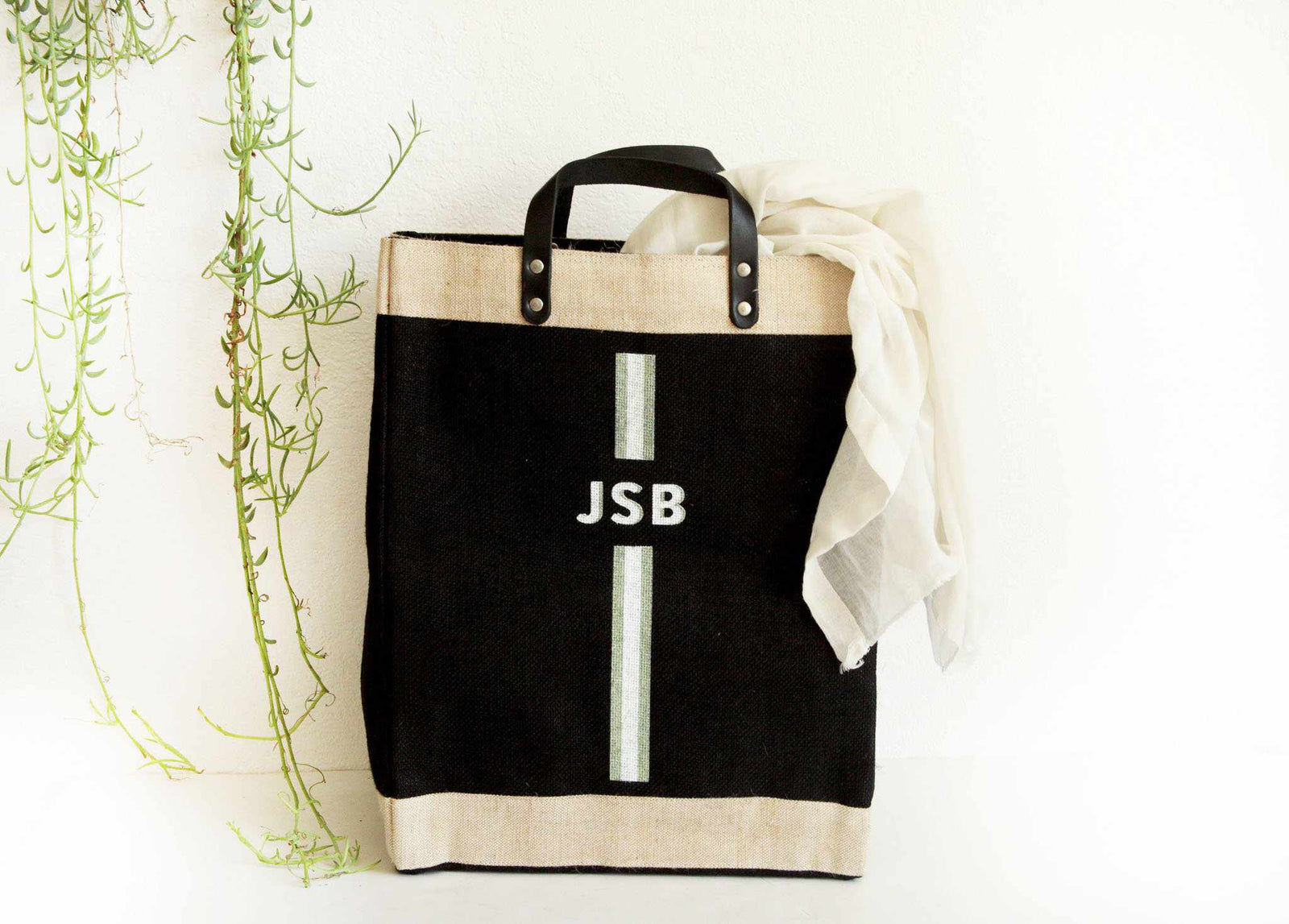 Customize Your Striped Market Bag Monogram in Black