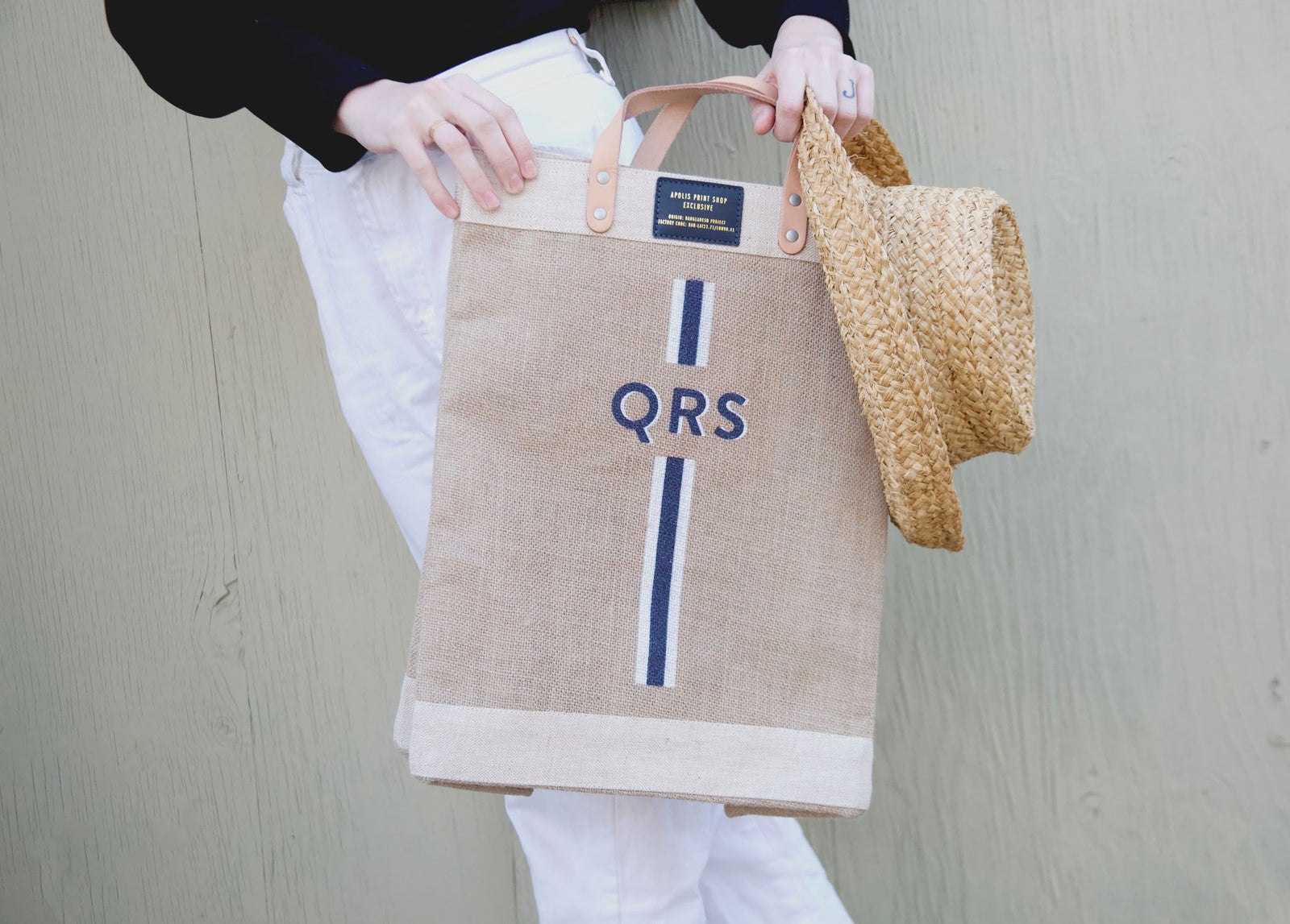 Stripe Monogram Market Bag in Navy | Gold Foil Print Shop Exclusive