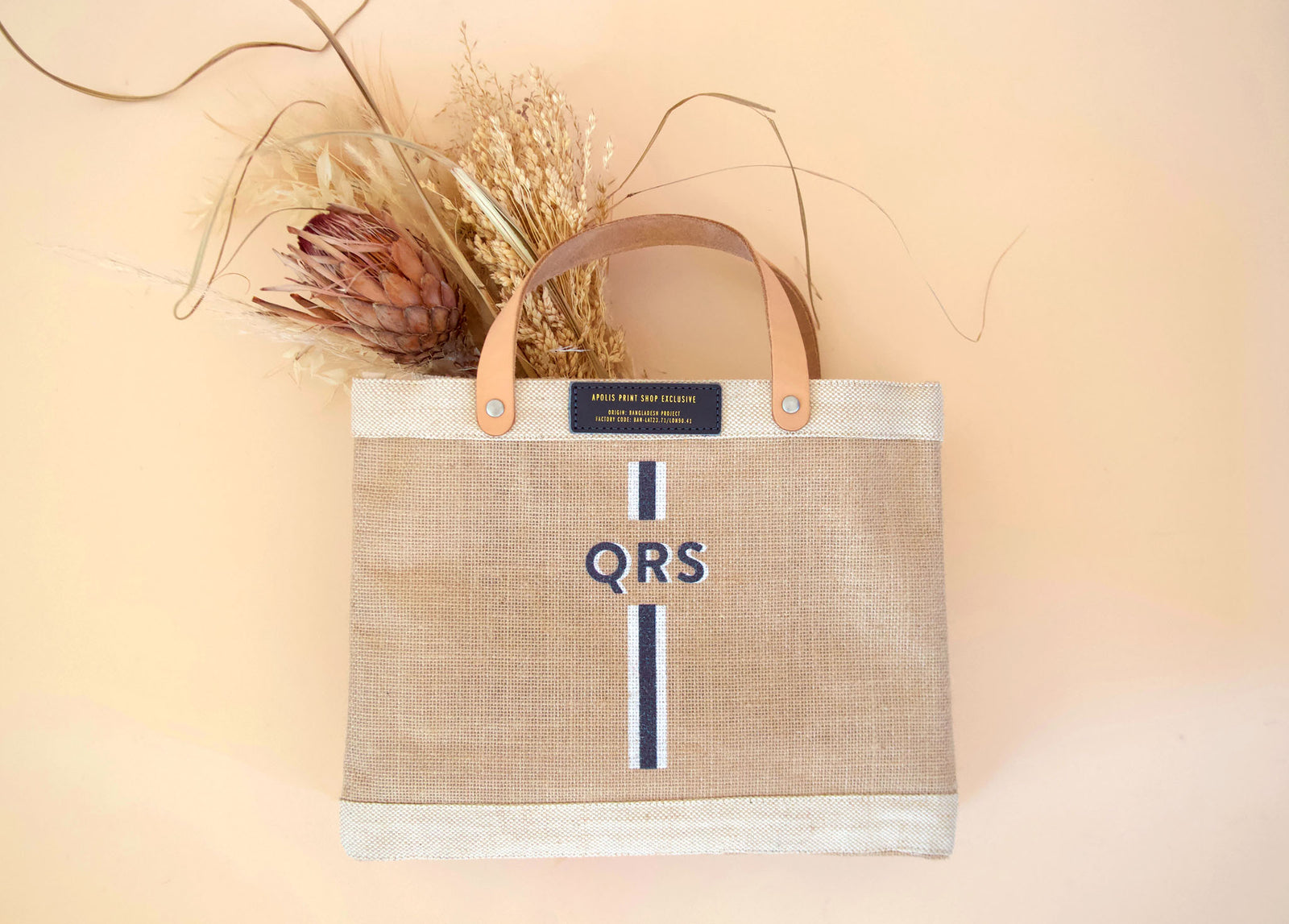 Stripe Monogram Petite Bag in Navy | Gold Foil Print Shop Exclusive