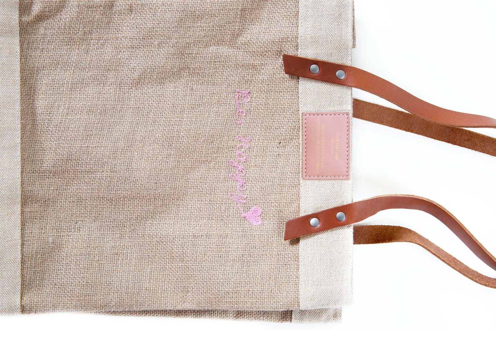Customizable Embroidered Standard Market Tote with Pink Stitch