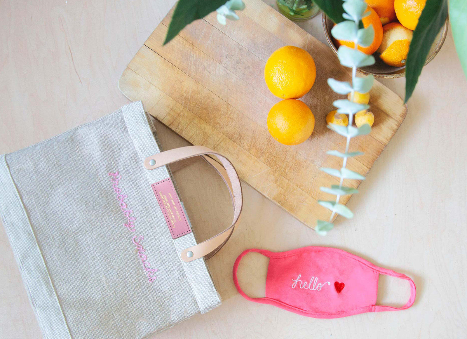 Customizable Embroidered Petite Market Bag with Pink Stitch | Gold Foil Print Shop Exclusive