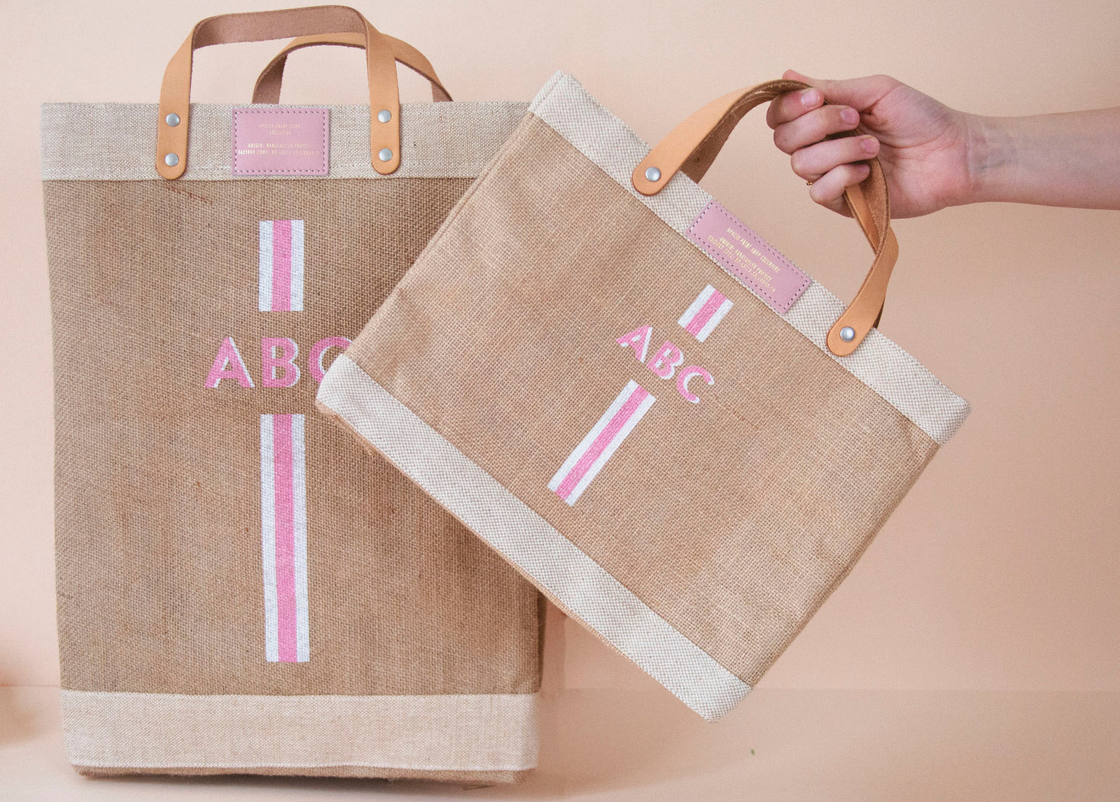 Stripe Monogram Petite Bag in Pink | Gold Foil Print Shop Exclusive