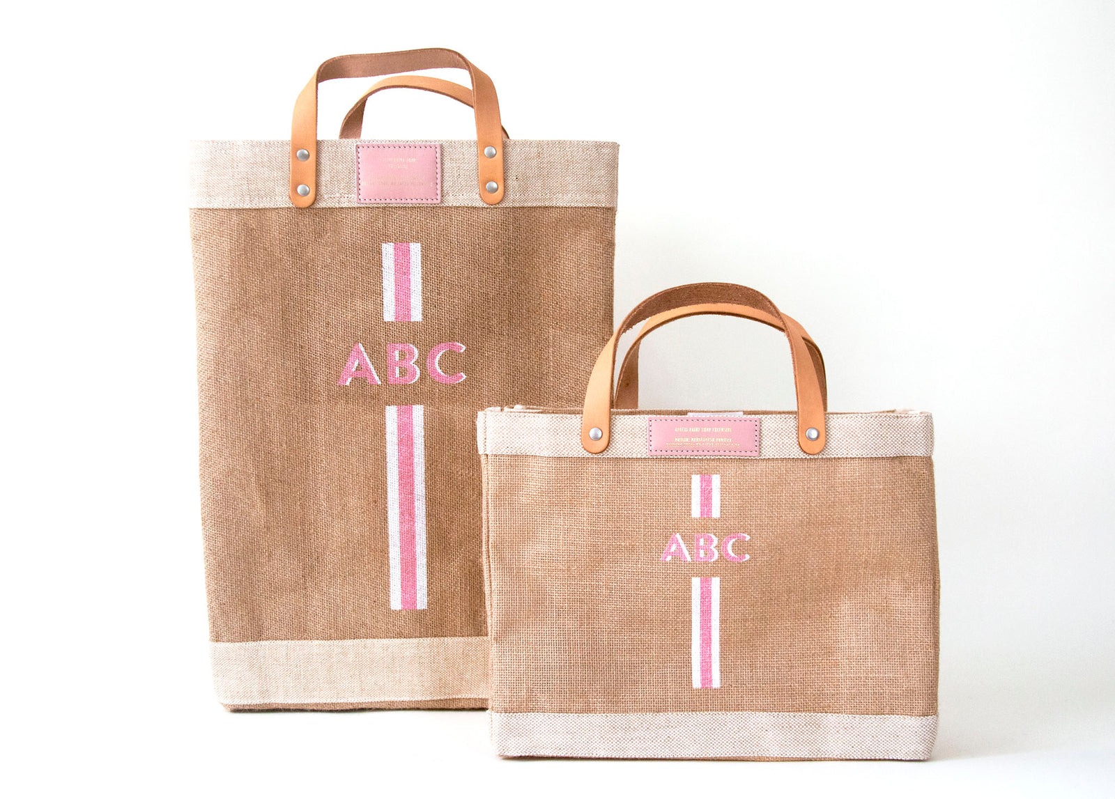 Stripe City Market Bag in Pink | Gold Foil Apolis Print Shop Exclusive