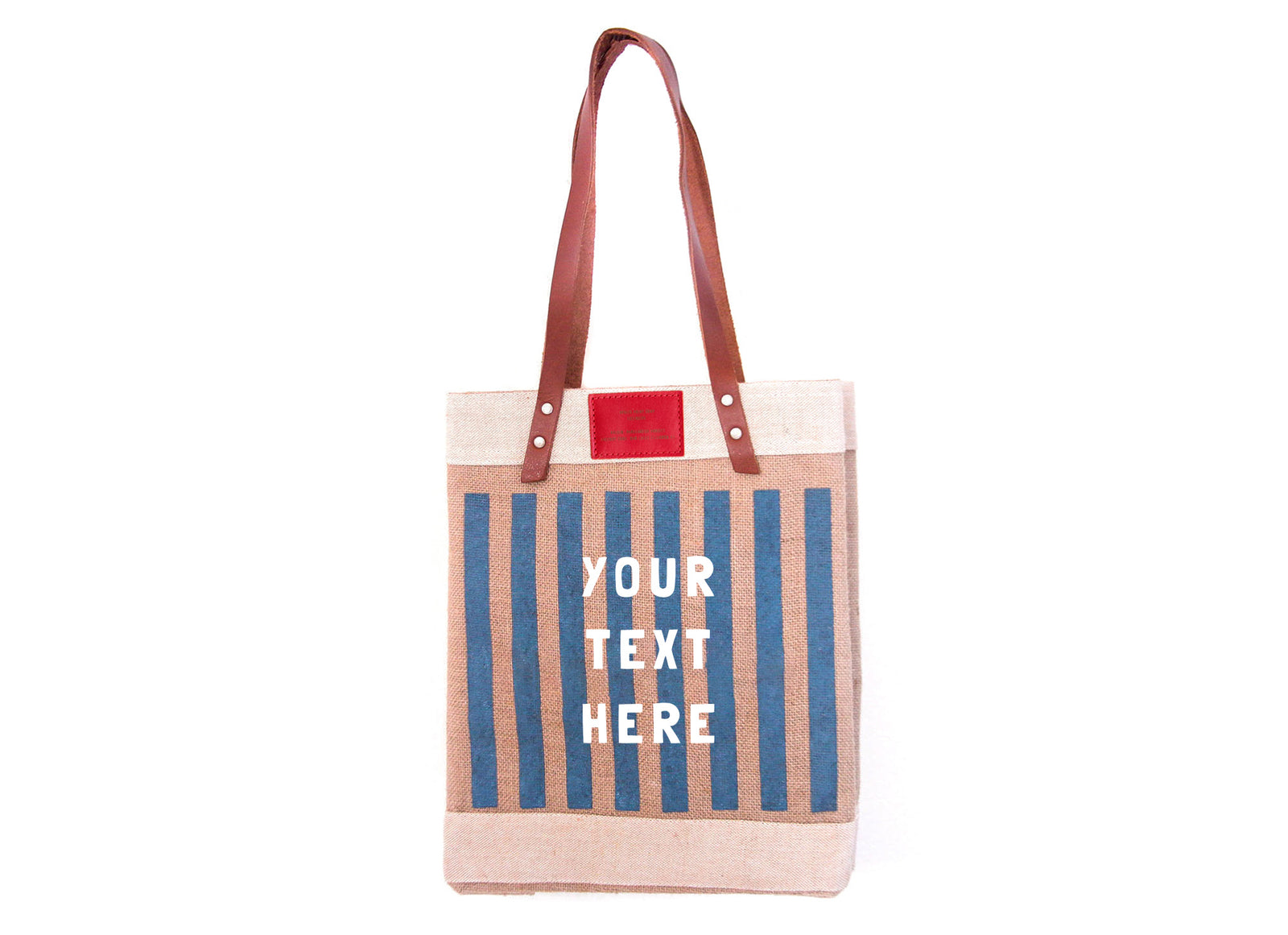 Customize Your Striped Long Handle Tote in Navy with Red Label