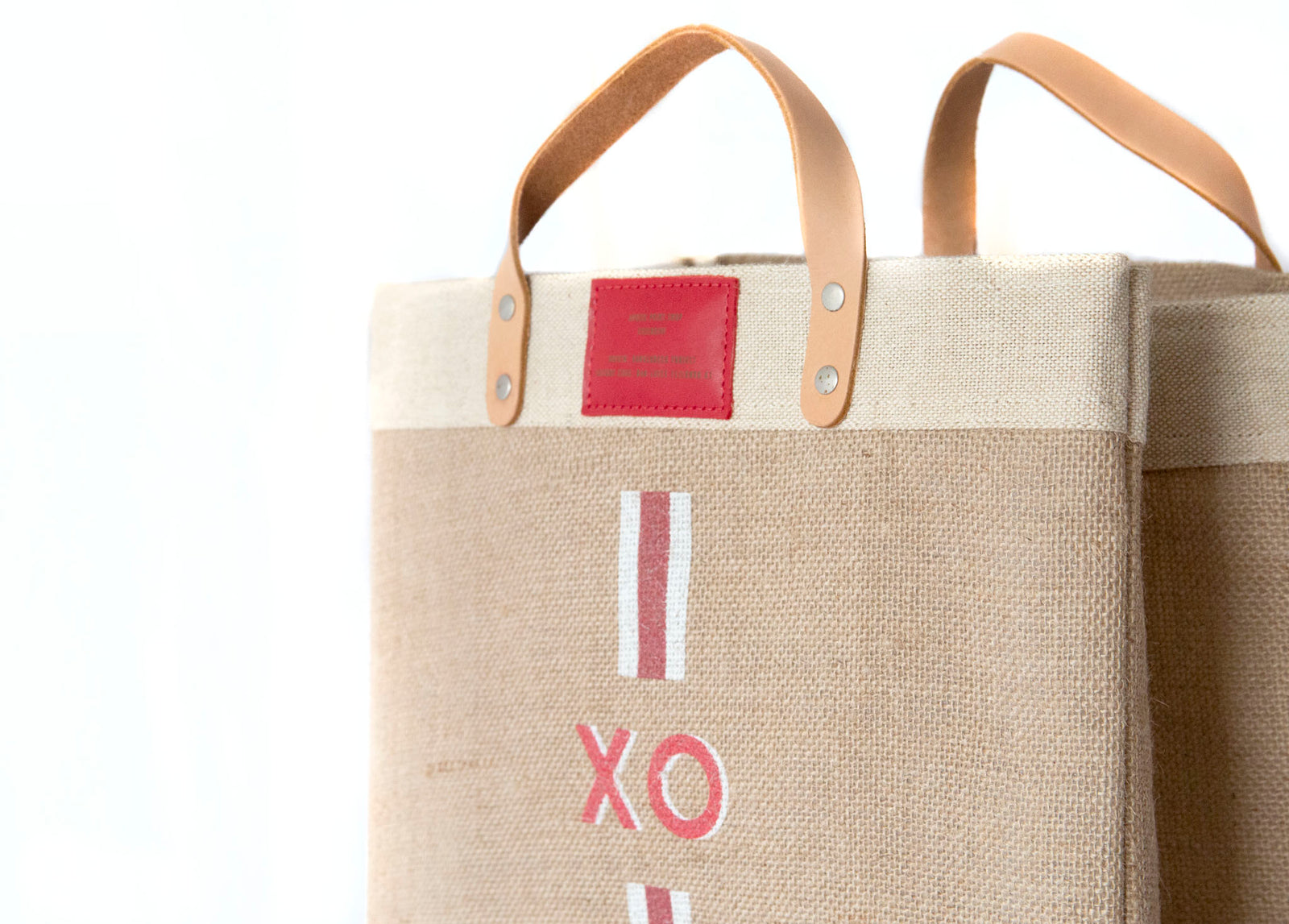 Stripe Monogram Market Bag in Red | Print Shop Exclusive