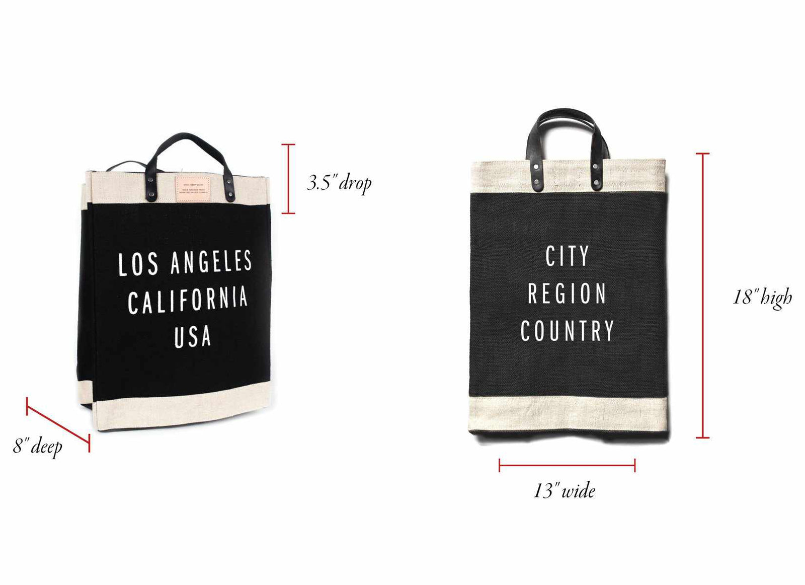 Customized Market Bag in Black - Wholesale