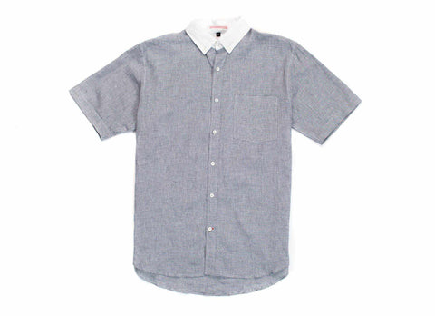 Japanese Short Sleeve Banker Collar Shirt, Navy/White