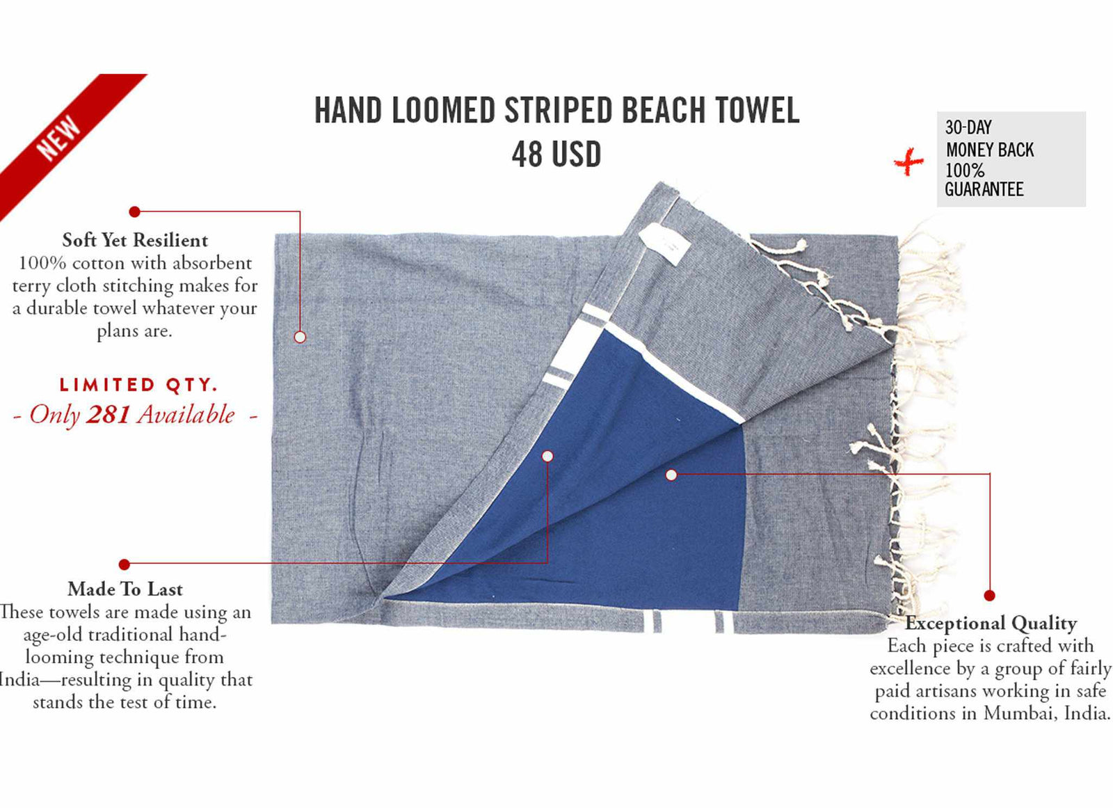 Hand-Loomed Striped Beach Towel