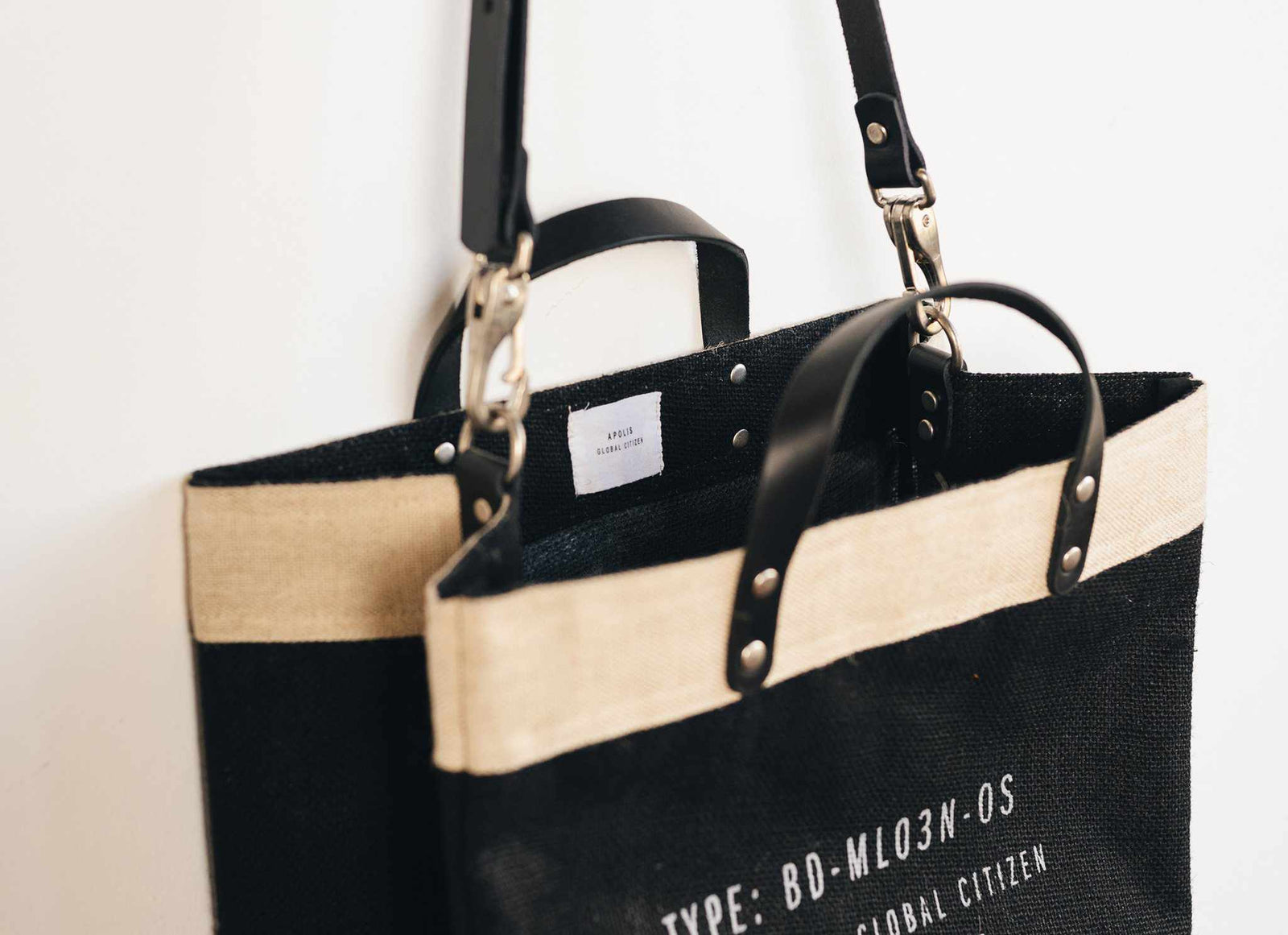 Customize Your Detachable Handle Market Bag in Black