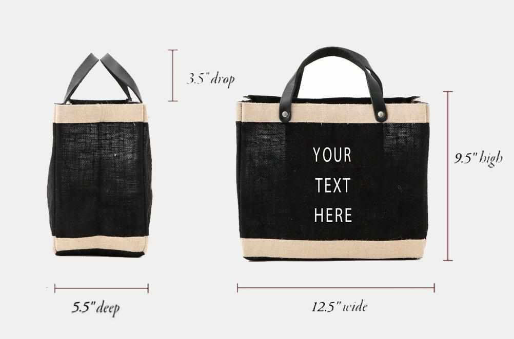 Customized Petite Market Bag in Black - Wholesale