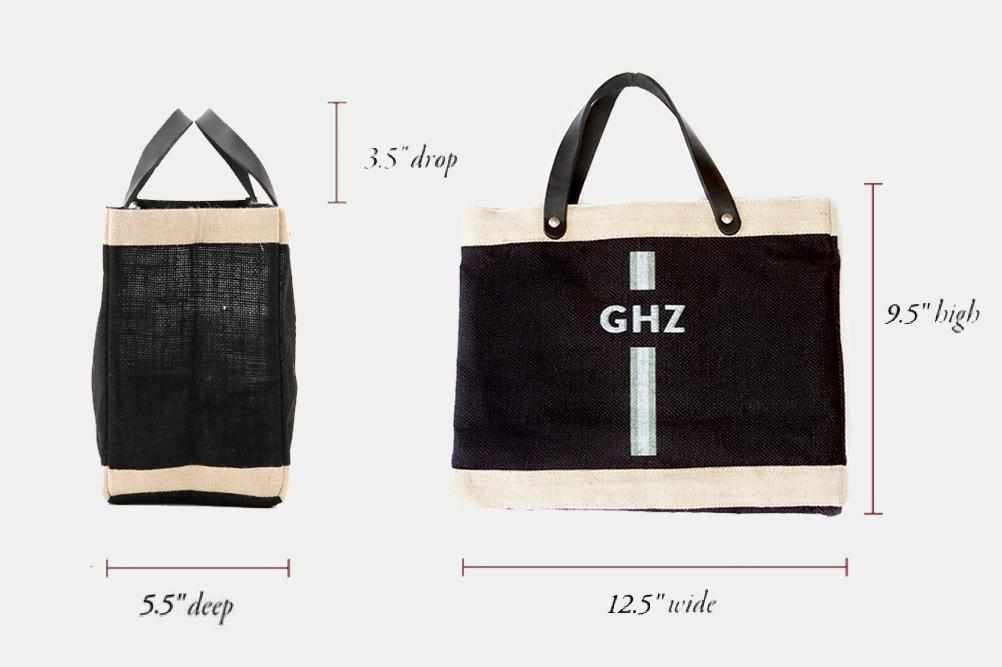 Customize Your Petite Striped Market Bag Monogram in Black