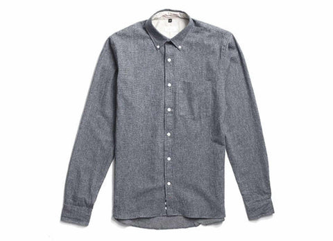 Indigo Flannel Button Down, Black