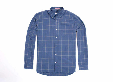 Japanese Windowpane Button Down, Blue