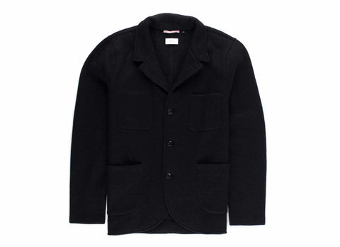 Boiled Wool Alpaca Blazer, Black