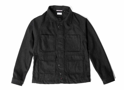 Coated Wool Chore Jacket, Black