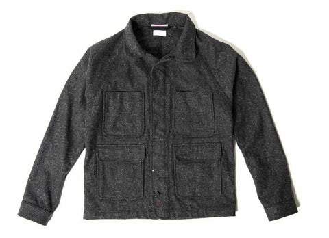 Coated Wool Chore Jacket, Charcoal