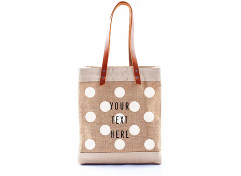 Customize Your Polka-Dot Tote in White