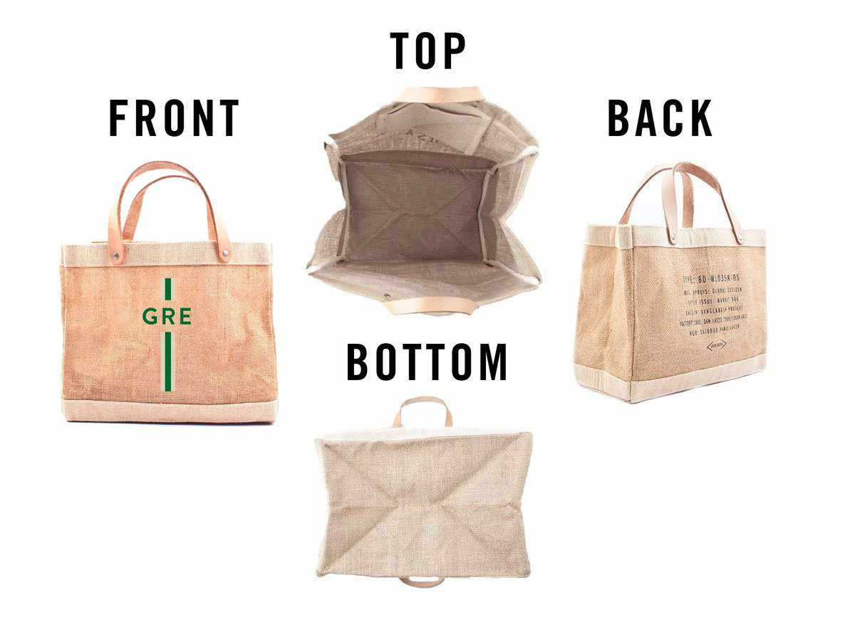 Customize Your Striped Petite Market Bag Monogram in Green