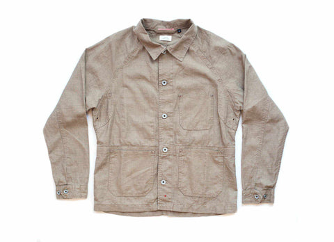 Linen French Work Jacket, Khaki