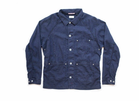 Linen French Work Jacket, Navy
