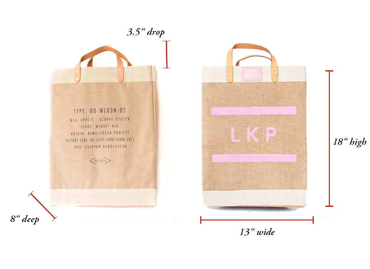 Customizable Block Monogram Market Bag in Pink | Gold Foil Print Shop Exclusive