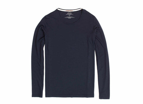 Transit Issue Long Sleeve Merino Crew Neck Shirt, Navy