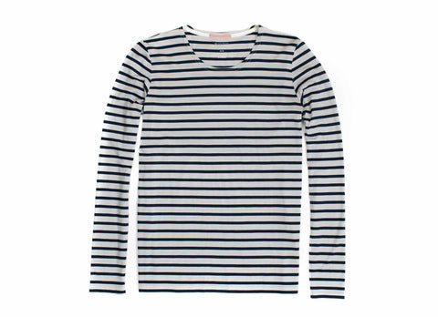 Transit Issue Long Sleeve Striped Merino Crew Neck Shirt, Navy
