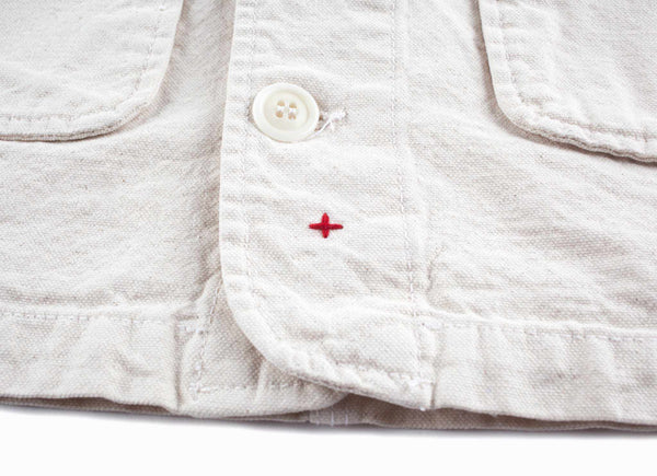 Washed Natural Seed Cotton Canvas Chore Jacket