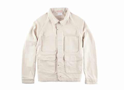 Washed Natural Seed Cotton Canvas Chore Jacket, Natural