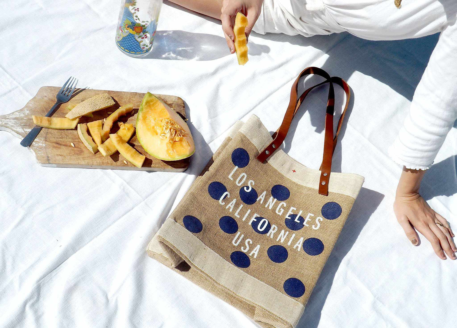 Customize Your Polka-Dot Tote in Navy