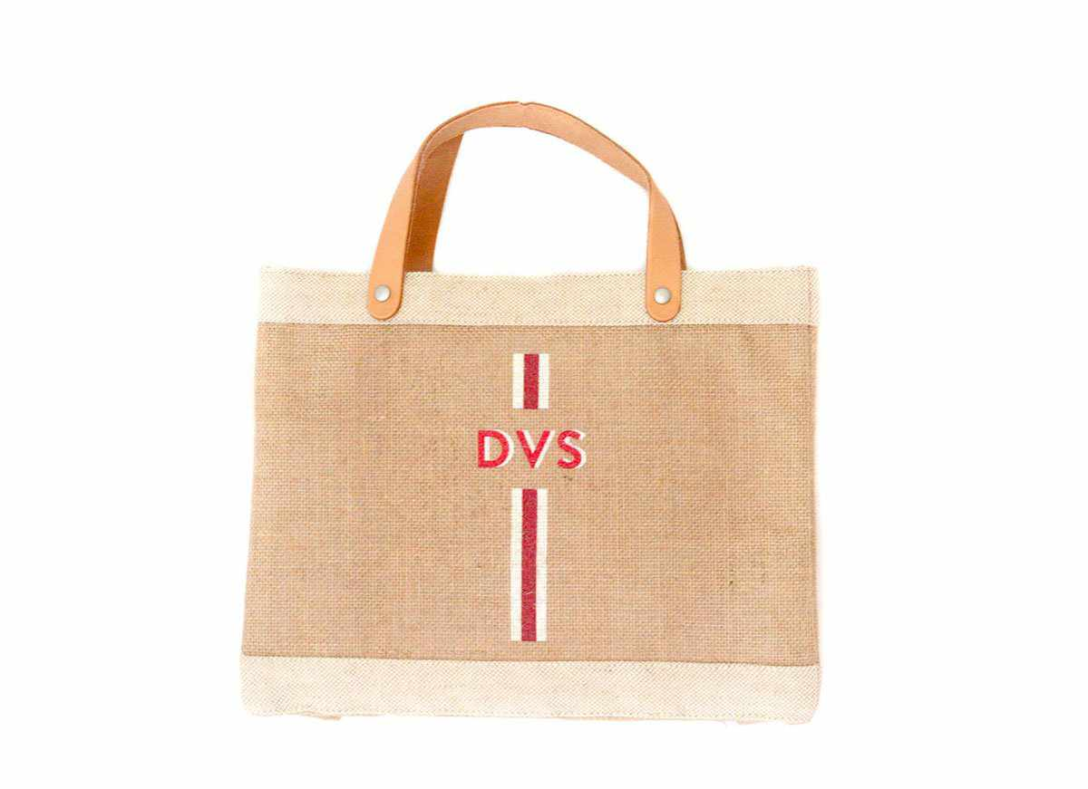 Customize Your Striped Petite Market Bag Monogram in Red