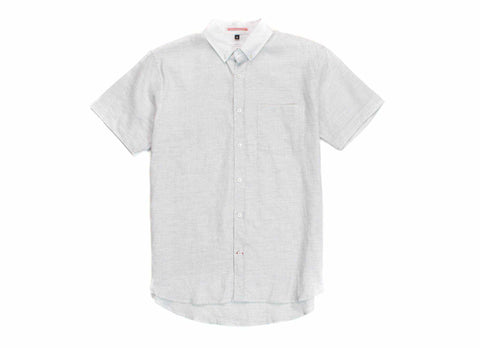 Japanese Short Sleeve Banker Collar Shirt, Grey/White