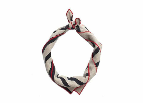 Striped Linen Bandana, Natural/Navy