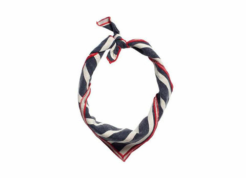 Striped Linen Bandana, Navy/Natural