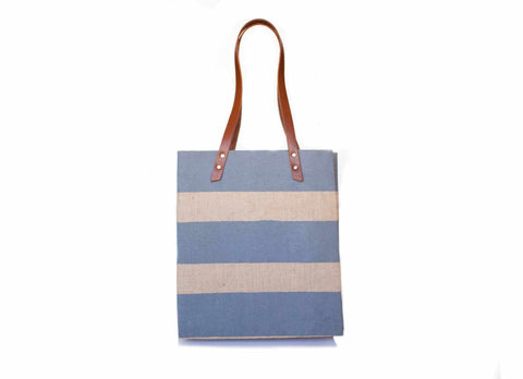 Striped Standard Tote, Grey