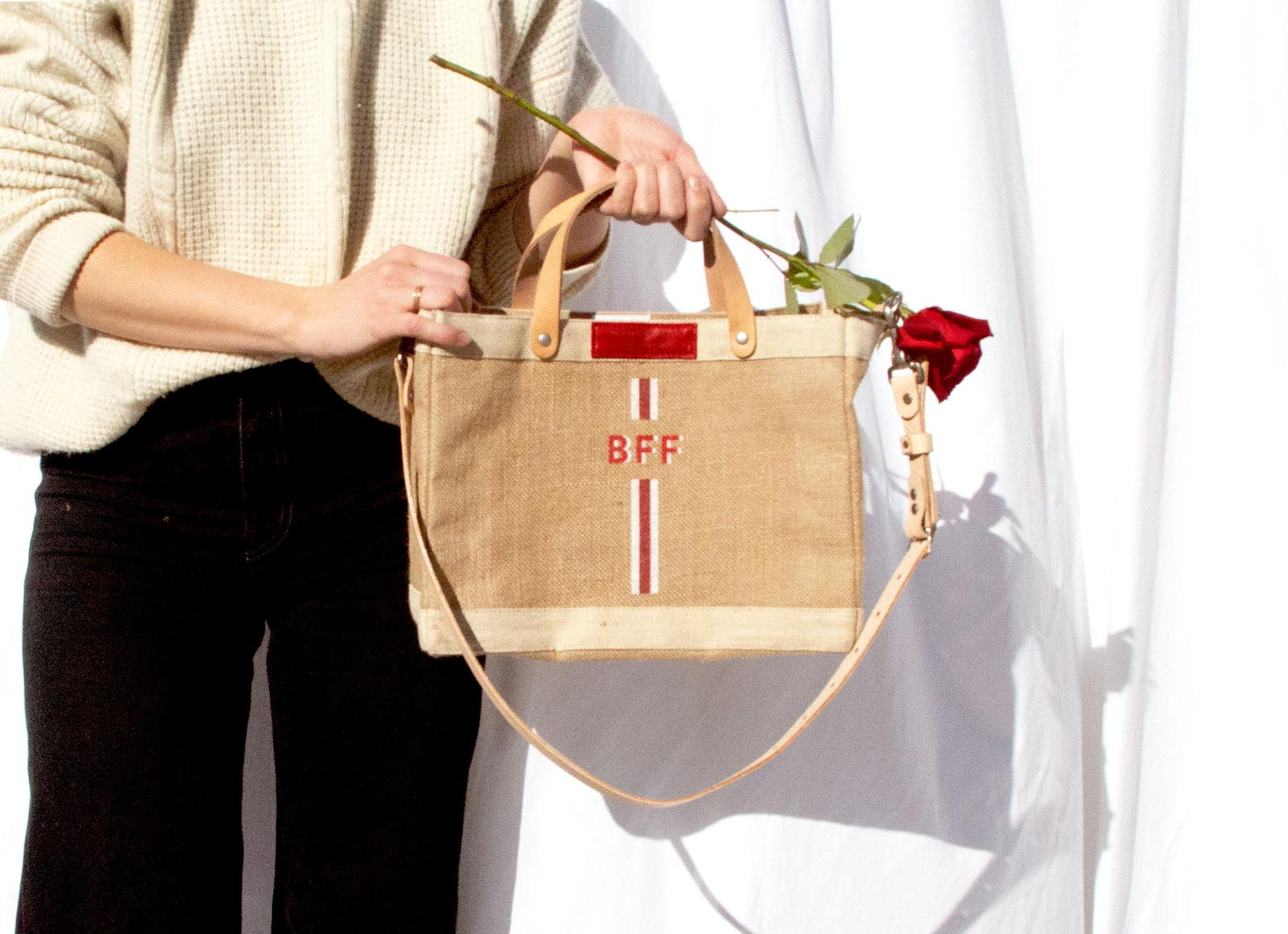 Stripe Monogram Detachable Handle Petite Market Bag in Red | Print Shop Exclusive