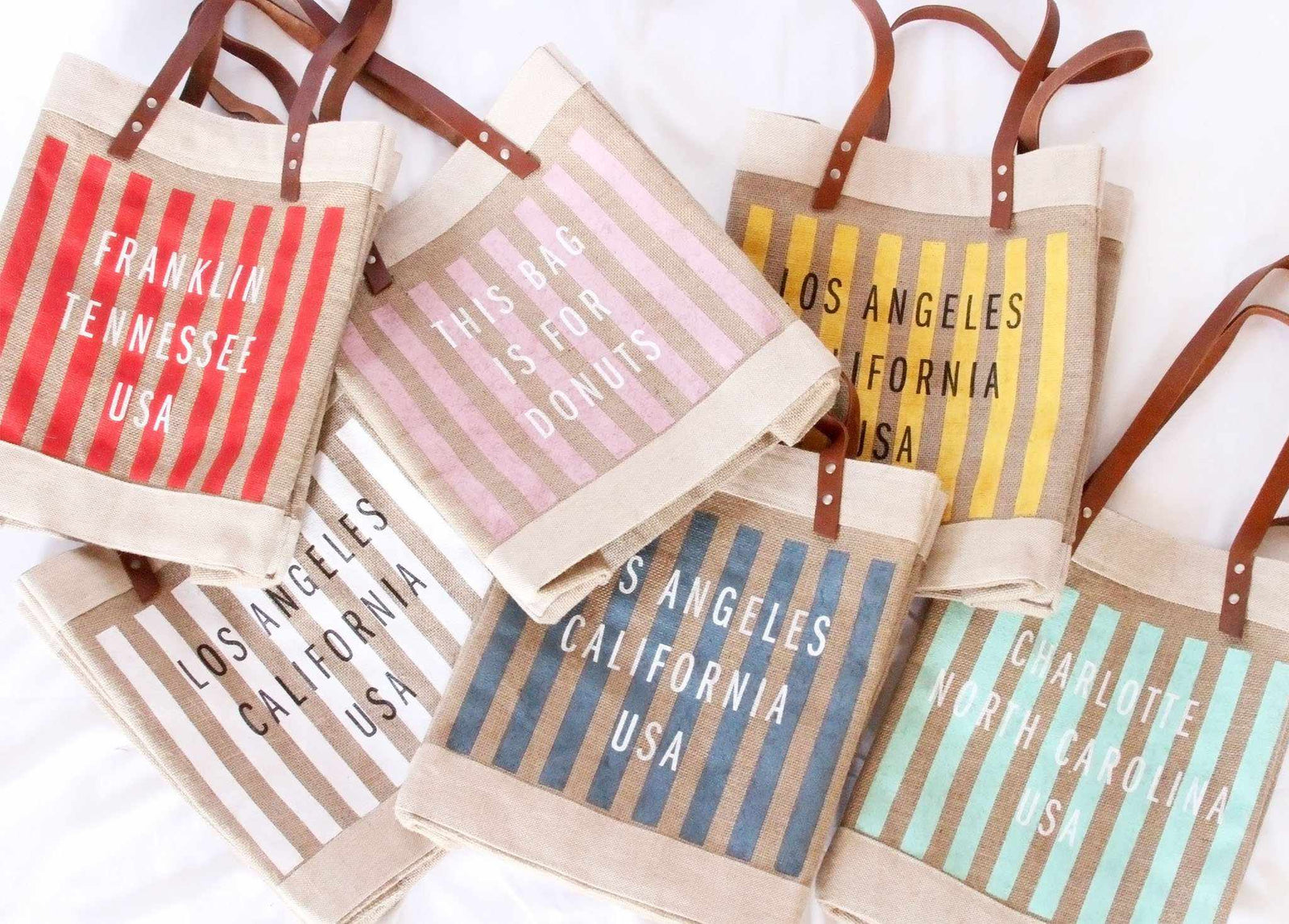 Customize Your Striped Long Handle Tote in Neon Mint